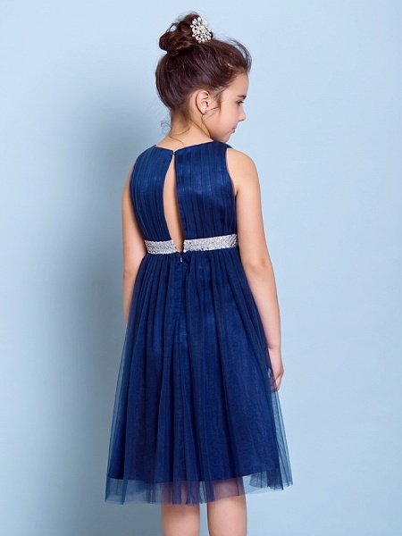 A-Line Jewel Neck Knee Length Tulle Junior Bridesmaid Dress With Sash / Ribbon / Sequin / Draping / Natural_6