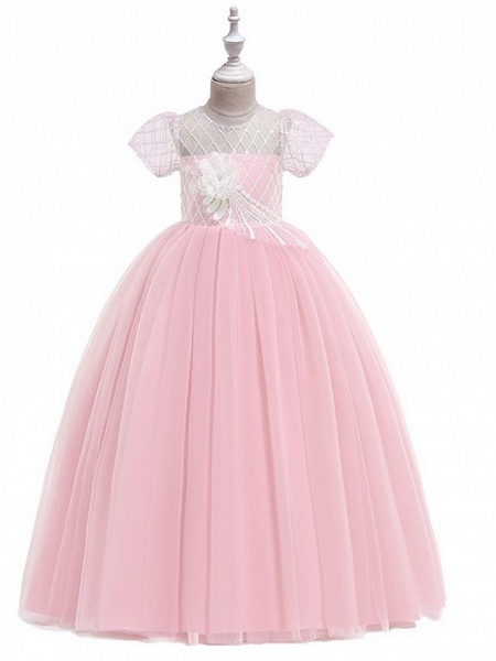 Ball Gown Round Floor Length Cotton Junior Bridesmaid Dress With Bow(S) / Appliques_3