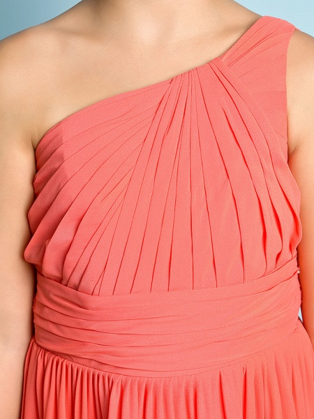 A-Line One Shoulder Ankle Length Chiffon Junior Bridesmaid Dress With Side Draping / Natural / Mini Me_7