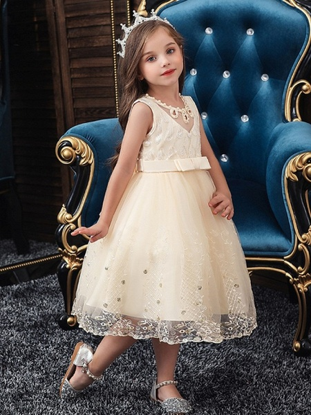 Princess / Ball Gown Knee Length Wedding / Party Flower Girl Dresses - Tulle Sleeveless Jewel Neck With Sash / Ribbon / Bow(S) / Beading_2