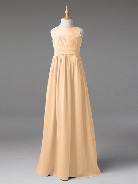 Princess / A-Line Jewel Neck Floor Length Chiffon Junior Bridesmaid Dress With Sash / Ribbon / Pleats_14