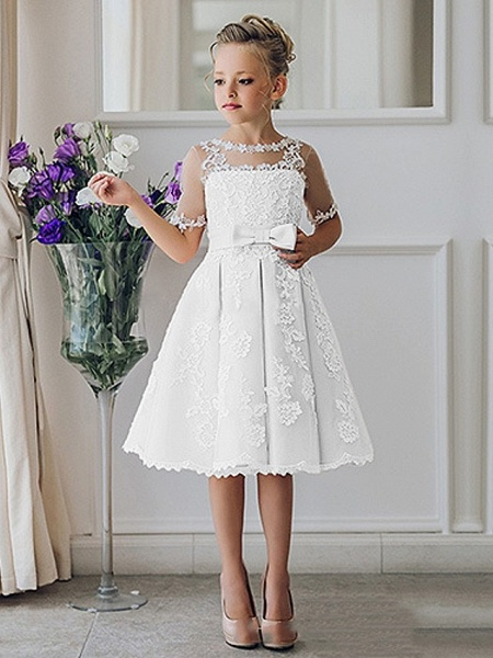 Princess / Ball Gown Knee Length Wedding / Party Flower Girl Dresses - Lace Short Sleeve Jewel Neck With Bow(S) / Appliques_5