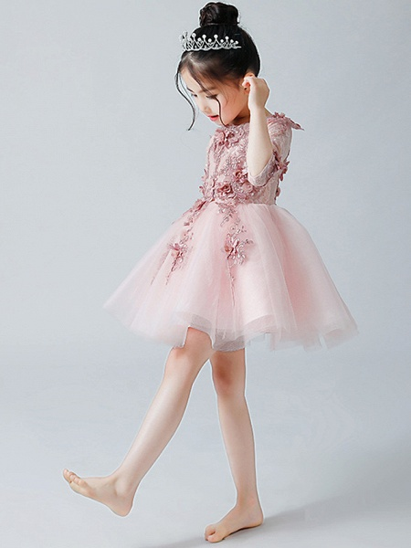 A-Line Ankle Length Christmas / Birthday Flower Girl Dresses - Tulle Half Sleeve Jewel Neck With Appliques_3