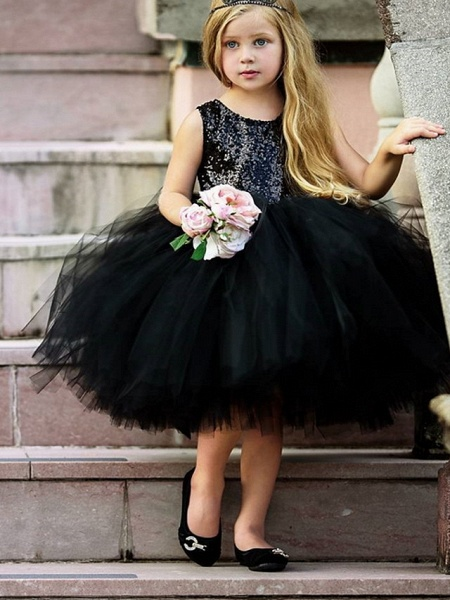 Ball Gown Midi Pageant Flower Girl Dresses - Organza Sleeveless Jewel Neck With Paillette_1