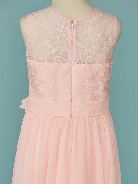 A-Line Jewel Neck Floor Length Chiffon / Lace Junior Bridesmaid Dress With Lace / Sash / Ribbon_5