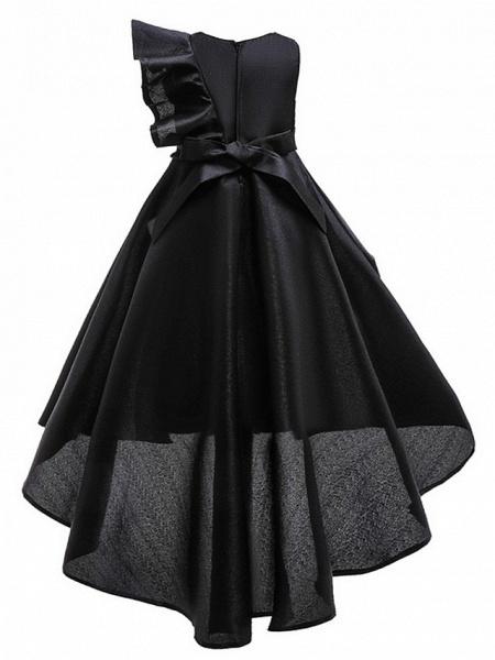 A-Line Round Asymmetrical Cotton Junior Bridesmaid Dress With Bow(S) / Ruffles_6