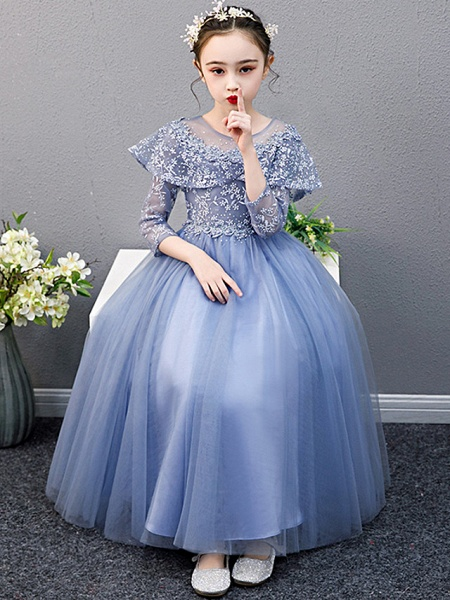 A-Line Ankle Length Christmas / Birthday Flower Girl Dresses - Lace Sleeveless Jewel Neck With Beading_5