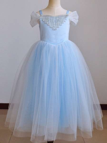 Ball Gown Floor Length Pageant Flower Girl Dresses - Polyester Short Sleeve Spaghetti Strap With Pendant_4