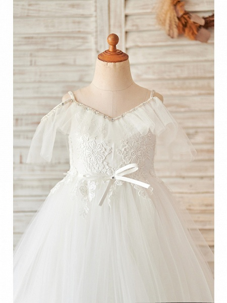 Princess / Ball Gown Floor Length Wedding / Birthday Flower Girl Dresses - Lace / Tulle Sleeveless V Neck With Bow(S) / Beading / Appliques_3