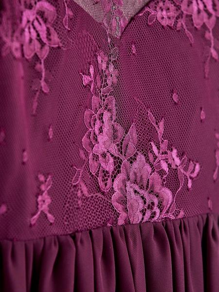A-Line V Neck Maxi Chiffon / Lace Junior Bridesmaid Dress With Appliques_7