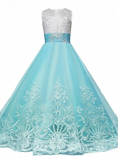 Princess Maxi Wedding / Birthday / Pageant Flower Girl Dresses - Lace / Tulle Sleeveless Jewel Neck With Lace / Bow(S) / Paillette_4