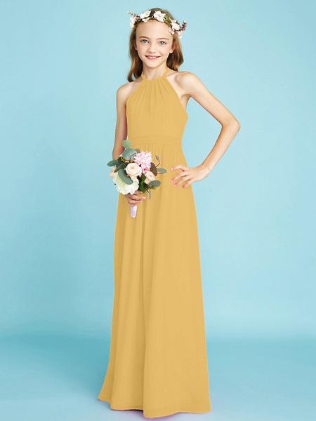 A-Line Halter Neck Floor Length Chiffon Junior Bridesmaid Dress With Sash / Ribbon / Natural_23