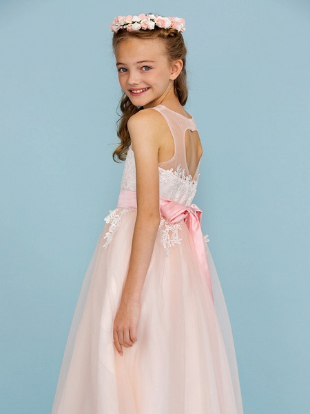 Princess / A-Line Jewel Neck Ankle Length Lace / Tulle Junior Bridesmaid Dress With Sash / Ribbon / Appliques / Wedding Party / Open Back_7