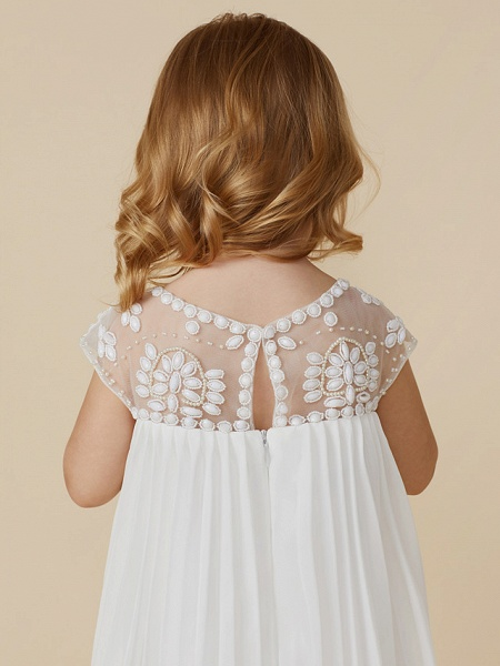 Sheath / Column Knee Length Wedding / First Communion / Holiday Flower Girl Dresses - Chiffon Short Sleeve Jewel Neck With Beading / Draping_7