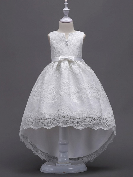 Princess Asymmetrical Wedding / First Communion Flower Girl Dresses - Lace / Satin / Tulle Sleeveless V Wire With Lace / Belt / Bow(S)_1