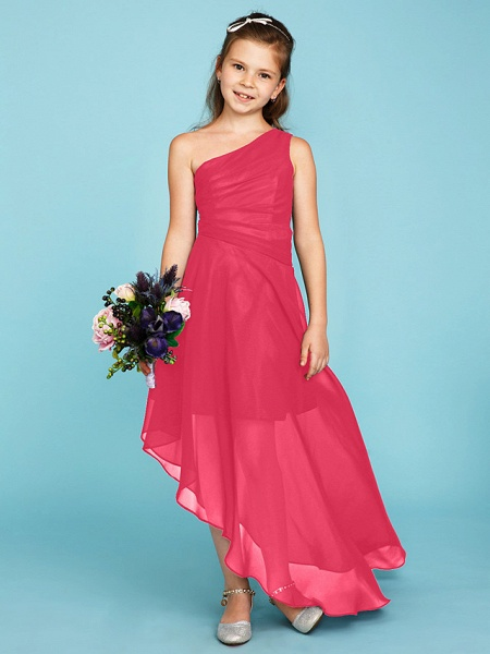 A-Line One Shoulder Asymmetrical Chiffon Junior Bridesmaid Dress With Side Draping / Wedding Party_23