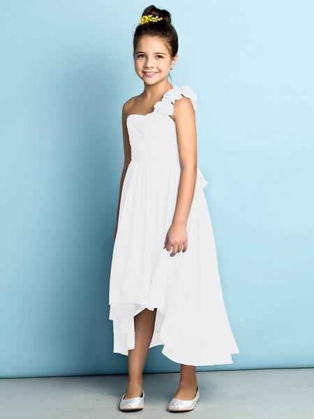 A-Line One Shoulder Asymmetrical Chiffon Junior Bridesmaid Dress With Criss Cross / Flower / Natural / Mini Me_22