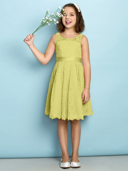 A-Line Scoop Neck Knee Length All Over Floral Lace Junior Bridesmaid Dress With Lace / Natural / Mini Me_17