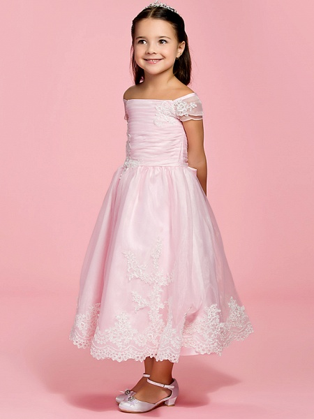 Princess / A-Line Ankle Length First Communion / Wedding Party Organza Short Sleeve Bateau Neck / Off Shoulder With Bow(S) / Ruched / Appliques / Spring / Summer / Fall_3