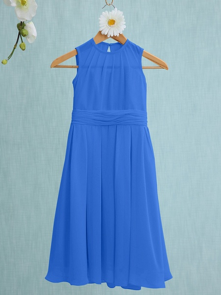 Sheath / Column Jewel Neck Knee Length Chiffon Junior Bridesmaid Dress With Ruched / Natural_31