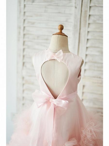 Princess / Ball Gown Floor Length Wedding / Birthday Flower Girl Dresses - Tulle Sleeveless Jewel Neck With Sash / Ribbon / Bow(S) / Flower_4