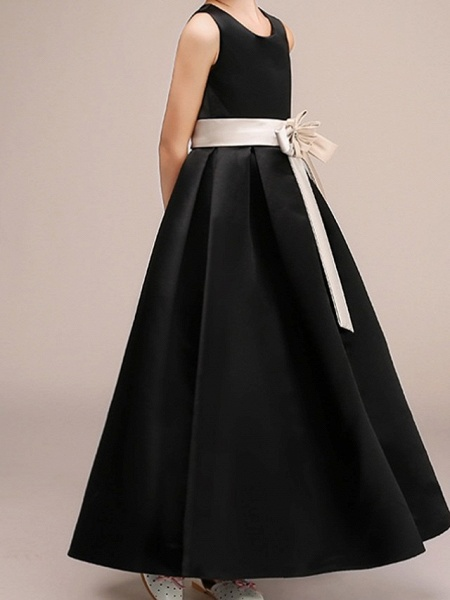 A-Line Ankle Length Pageant Flower Girl Dresses - Polyester Sleeveless Jewel Neck With Bow(S)_4