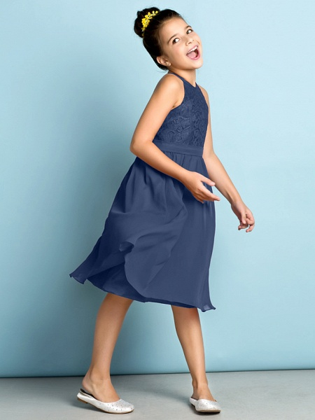 A-Line Jewel Neck Knee Length Chiffon / Lace Junior Bridesmaid Dress With Lace / Natural / Mini Me_9