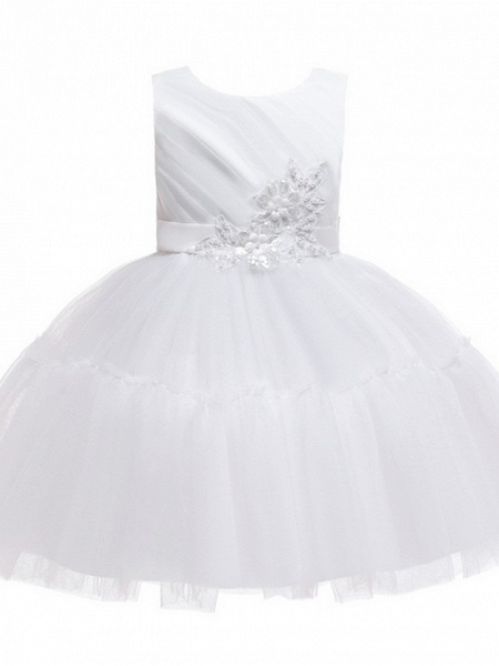 Princess / Ball Gown Knee Length Wedding / Party Flower Girl Dresses - Tulle Sleeveless Jewel Neck With Sash / Ribbon / Bow(S) / Appliques_9