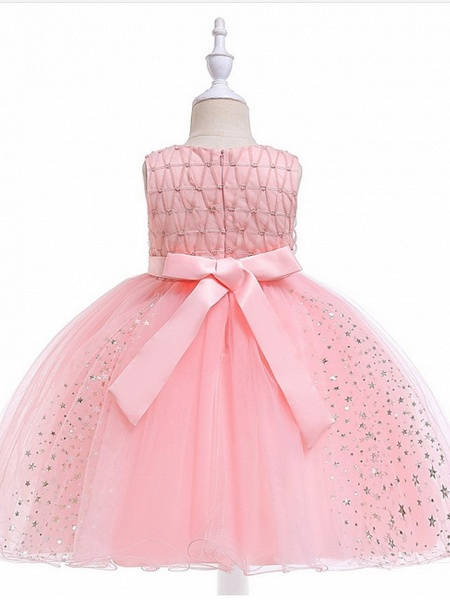 Princess / Ball Gown Knee Length Wedding / Party Flower Girl Dresses - Tulle Sleeveless Jewel Neck With Sash / Ribbon / Beading / Appliques_3