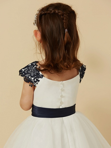 A-Line Knee Length Pageant Flower Girl Dresses - Lace / Tulle Short Sleeve Scoop Neck With Sash / Ribbon / Bow(S) / Buttons_6