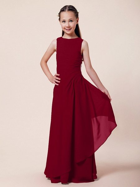 A-Line / Sheath / Column Bateau Neck Floor Length Chiffon Junior Bridesmaid Dress With Beading / Side Draping / Spring / Summer / Fall / Winter / Wedding Party_11