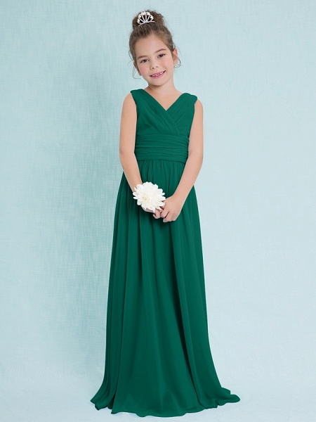 Sheath / Column V Neck Floor Length Chiffon Junior Bridesmaid Dress With Criss Cross / Ruched / Natural_25