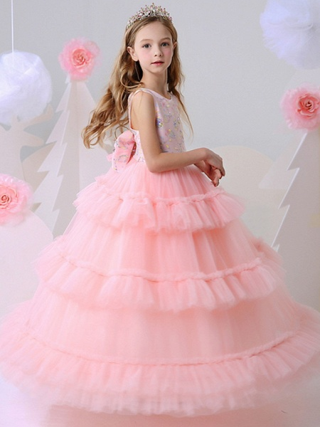 Ball Gown Floor Length Party / Birthday Flower Girl Dresses - Polyester Sleeveless Jewel Neck With Beading_3