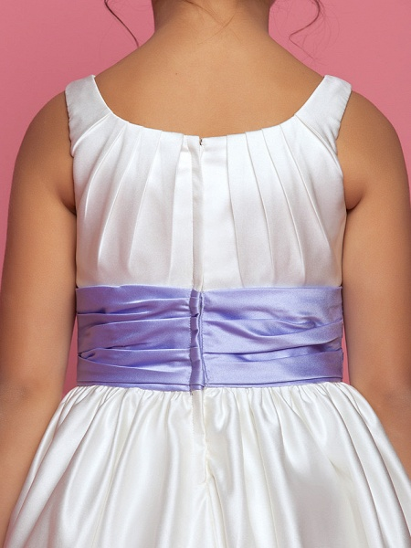 Princess / A-Line Ankle Length Satin Sleeveless Square Neck With Sash / Ribbon / Ruched / Side Draping_8