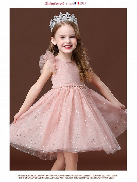 Princess / Ball Gown Short / Mini Wedding / Party Flower Girl Dresses - Tulle Short Sleeve Jewel Neck With Ruffles / Paillette_4