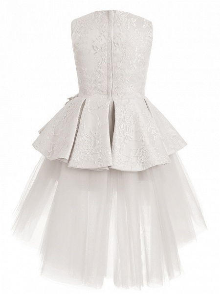 A-Line Knee Length Wedding / Birthday / Pageant Flower Girl Dresses - Tulle / Cotton Sleeveless Jewel Neck With Lace / Beading / Paillette_5