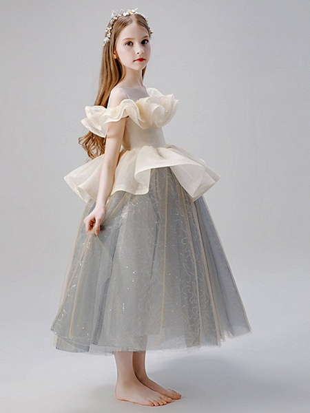 A-Line Floor Length Party / Birthday Flower Girl Dresses - Satin / Tulle Sleeveless Jewel Neck With Ruffles / Paillette_3