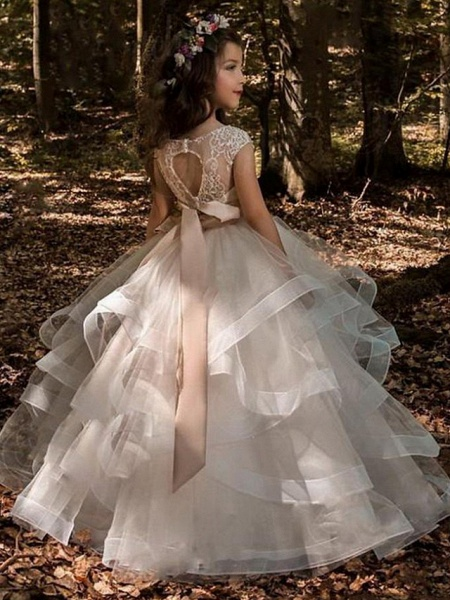 Princess Sweep / Brush Train Communion Dresses - Tulle / Polyester Sleeveless Jewel Neck With Pick Up Skirt / Solid_2