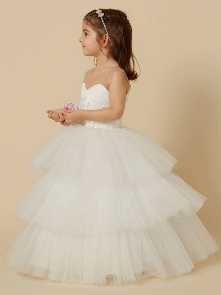 Ball Gown Floor Length Wedding / First Communion Flower Girl Dresses - Satin / Tulle Sleeveless Illusion Neck With Buttons / Flower_3