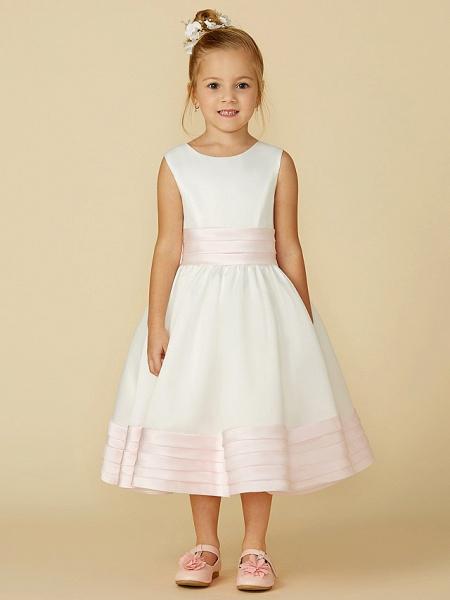 A-Line Tea Length Wedding / First Communion Flower Girl Dresses - Satin Sleeveless Jewel Neck With Sash / Ribbon / Bow(S)_4