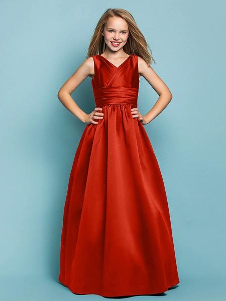 Princess / A-Line V Neck Floor Length Satin Junior Bridesmaid Dress With Sash / Ribbon / Criss Cross / Spring / Summer / Fall / Apple / Hourglass_13