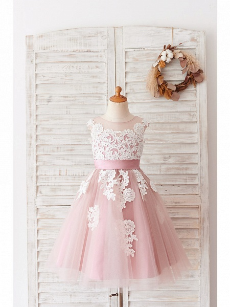 Ball Gown Knee Length Wedding / Birthday Flower Girl Dresses - Lace / Tulle Sleeveless Jewel Neck With Belt / Buttons_1