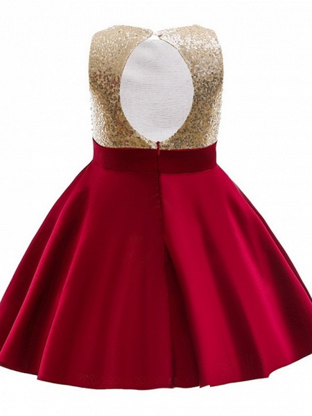 Ball Gown Knee Length Wedding / Party Flower Girl Dresses - Satin Chiffon Sleeveless Jewel Neck With Appliques / Paillette_3