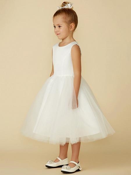 Princess Tea Length Wedding / First Communion Flower Girl Dresses - Satin / Tulle Sleeveless Jewel Neck With Lace_3