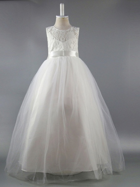 Ball Gown Ankle Length Wedding / First Communion / Pageant Flower Girl Dresses - Satin Sleeveless Jewel Neck With Lace / Sash / Ribbon / Draping / Elegant / Beautiful Back / See Through_6