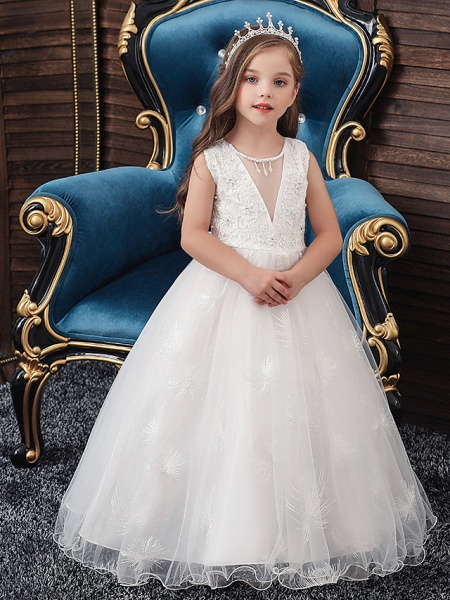 A-Line Medium Length Wedding / Party / First Communion Flower Girl Dresses - Tulle / Matte Satin / Poly&Cotton Blend Sleeveless Jewel Neck With Lace / Beading / Solid_2
