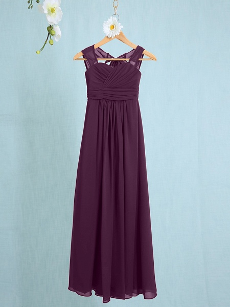 Sheath / Column Straps Ankle Length Chiffon Junior Bridesmaid Dress With Ruched / Natural_14