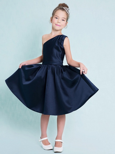 A-Line One Shoulder Knee Length Satin Junior Bridesmaid Dress With Sash / Ribbon / Pleats / Natural_1