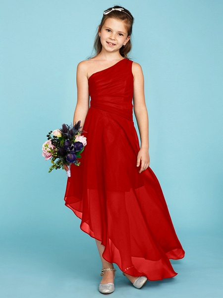 A-Line One Shoulder Asymmetrical Chiffon Junior Bridesmaid Dress With Side Draping / Wedding Party_27