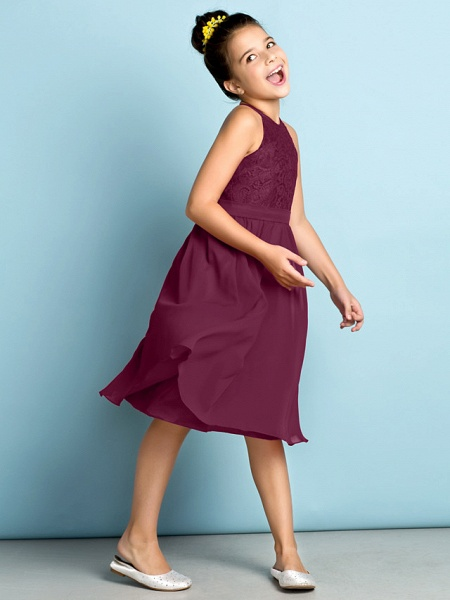 A-Line Jewel Neck Knee Length Chiffon / Lace Junior Bridesmaid Dress With Lace / Natural / Mini Me_10